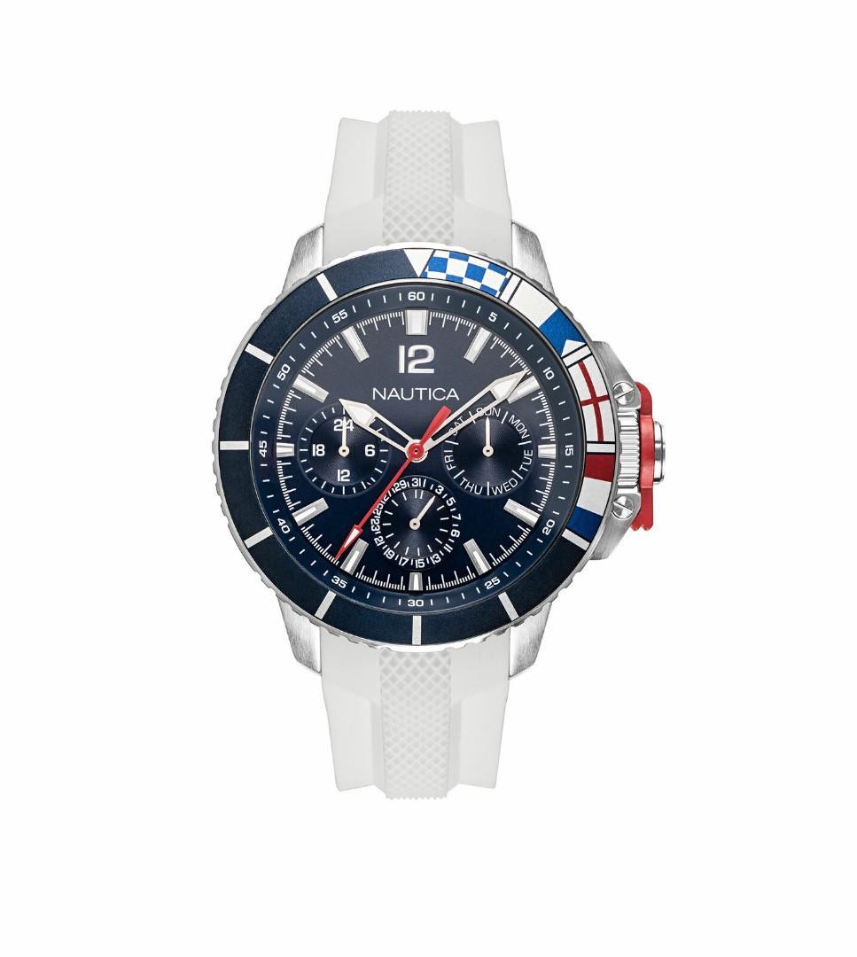 Nautica 男錶 NAPBHP902 Bay Ho 46mm 藍色錶盤 矽膠手錶 潛水錶