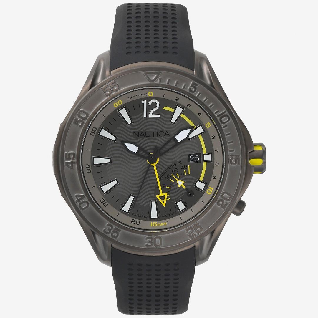 Nautica 男錶 NAPBRW00 防波堤 溫度 日期 深度指示器  50mm 灰色錶盤 矽膠手錶 潛水錶