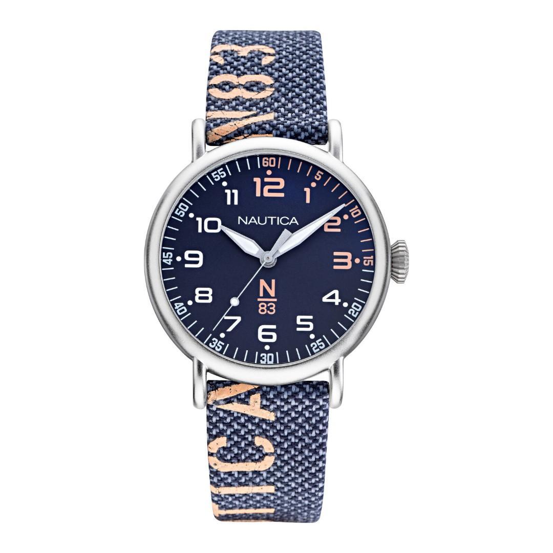 Nautica 男錶 NAPLSS006 N83愛海44mm 藍色錶盤 尼龍手錶