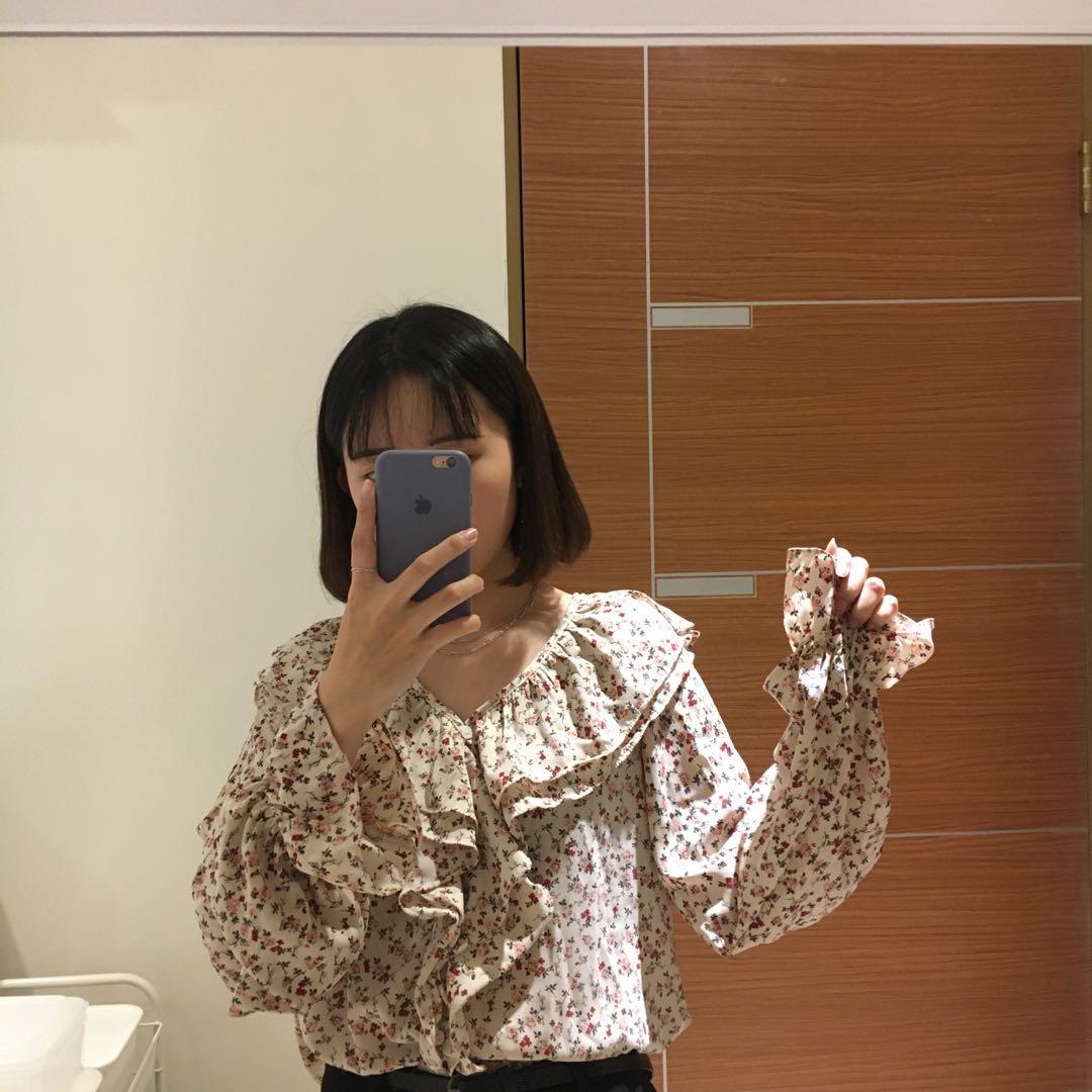 OWN 韓國碎花荷葉邊雪紡襯衫