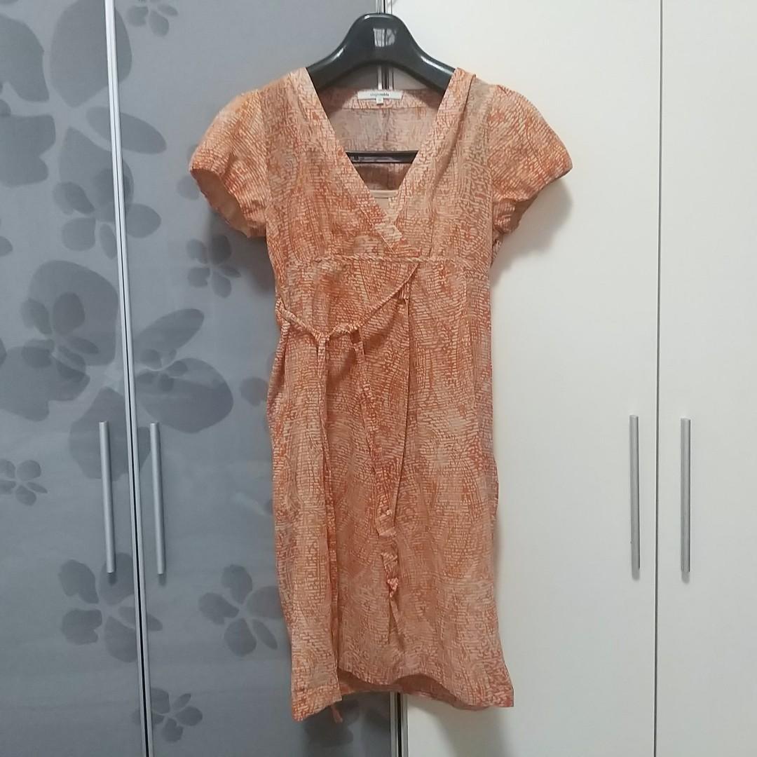Singlenoble專櫃橘色長洋裝