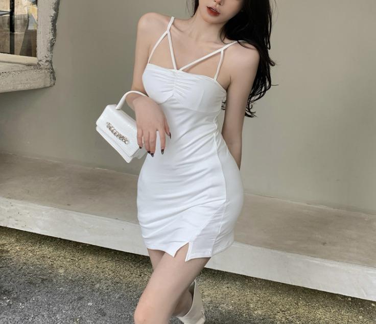 【Sixth Lover】WY194 低胸吊帶短裙洋裝 細肩帶 裙開叉 包臀 性感 夜店 派對 主播 網紅 洋裝