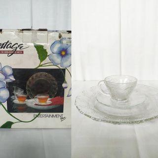 Vintage Glass Plates, Cups Set 12pc
