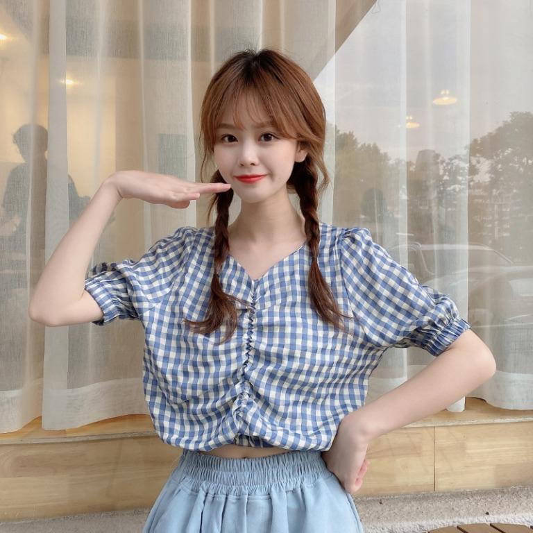 小清新港風格子襯衫女小眾v領襯衣短款露臍T恤夏季韓版上衣750817