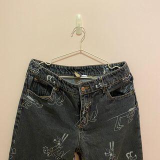 ZARA 迪士尼 直筒 寬版 黑色 牛仔褲