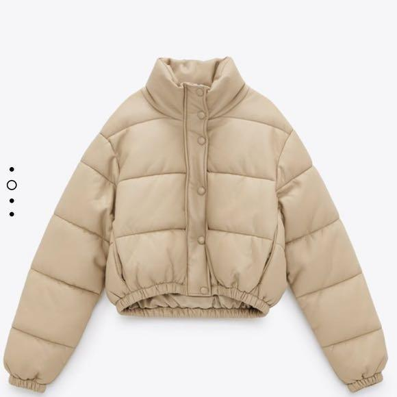 Zara Tan Leather Puffer