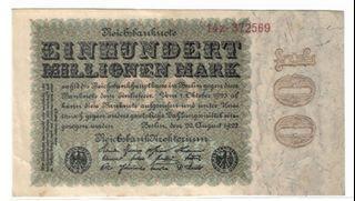 1923 German Hundred Million Mark Hyperinflation Banknote