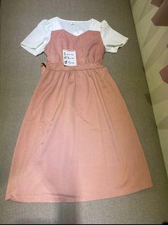 全新韓製氣質粉洋裝