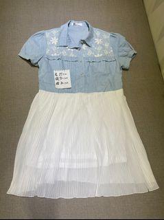 韓系藍白氣質洋裝
