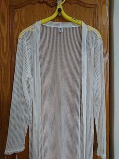 防曬罩衫長版長袖直條紋罩衫