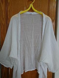 棉麻罩衫落肩寬袖罩衫