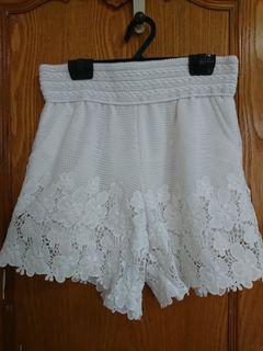 網狀布蕾絲腰鬆緊口袋兩穿短褲
