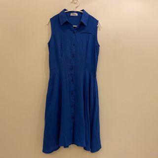 寶藍色無袖襯衫長洋裝