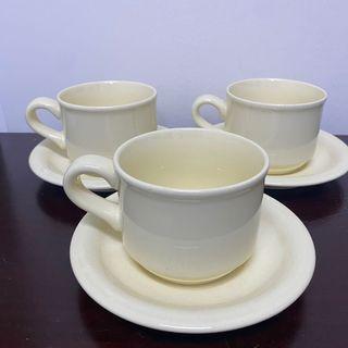 淡黃色陶瓷下午茶杯盤組(3個)