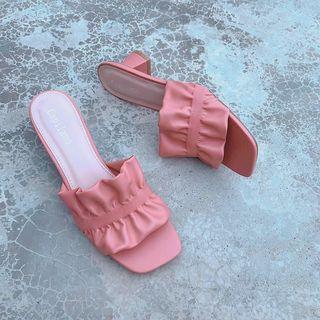 瘦腳限定  橘粉色低跟拖鞋