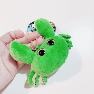 小雜物   未煮熟的螃蟹 綠色螃蟹 吊飾 玩偶 娃娃 收藏