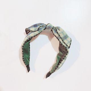 小雜物   全新 綠色格紋 蝴蝶結 小清新 日系 森林系 髮飾 髮哭 髮箍