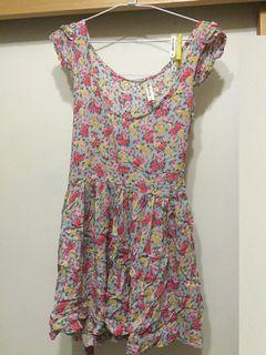 [二手] floral dress 短袖圓領洋裝