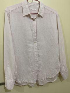 五成新 Lativ棉麻粉紅色襯衫
