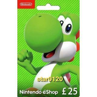 [過千好評]英國 Nintendo switch eshop card 任天堂卡 預付卡 25 Pound GBP 英鎊 英服 UK