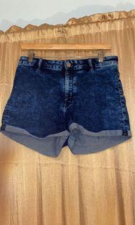 Blue washed out high rise denim shorts