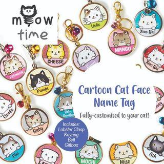 Cartoon Cat Tag with 41 Cat Face Colourful & Highly Customisable Name Tag ID Tag Pet Tag Dog Tag Pet Accessory Handmade Gift