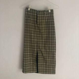 CORBAN綠色格子長窄裙