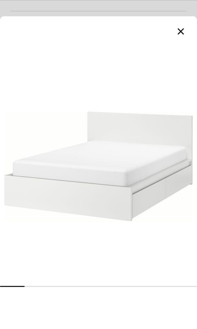 Ikea Malm Queen Bed With 2 Storage, Ikea Queen Bed Base With Storage