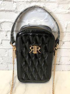 🇬🇧英國River Island黑色菱格漆皮亮皮金鍊斜背包鏈條包手機包手提包