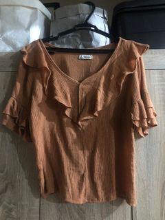 Rust Ribbed Top Like Zara
