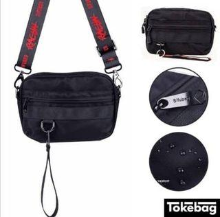 SIFUBEG Racun Water Resistant Sling Plus Clutch Bag Black 24cm x 5cm x 17cm