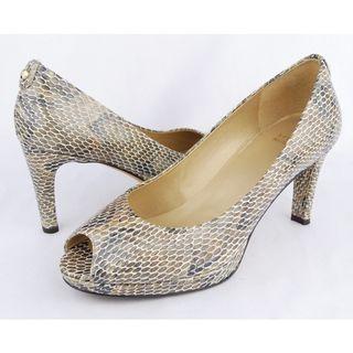 STUART WEITZMAN Snakeskin peep toe pumps on Sale!