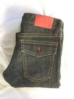 Uniqlo Premium Jeans Denim Black Indigo Like New Non Selvedge Second Preloved Bekas Thrift