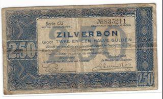 1938 Dutch Two and a Half Silver Gulden Banknote