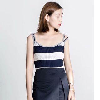 韓版韓妞必備條紋條文螺紋顯瘦性感設計款簡約兩條質感細肩帶背心上衣