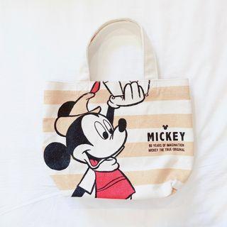 小雜物   日本 米奇 黃色 條紋 小提袋 帆布包 托特包 帆布袋 手拿包 便當袋 迪士尼 日本帶回 絕版