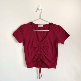 暗紅色 韓版 抽繩 短款 緊身 短袖 V領 上衣