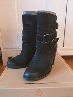 ASH PAL 高筒 高根 全真皮 高級 短靴 靴子