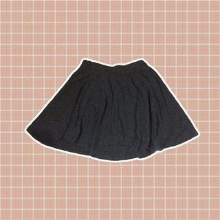 black cotton skater skirt