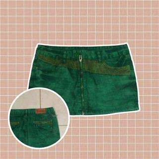 denim green mini skirt