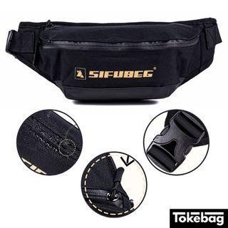SIFUBEG Gold Water Resistant Exclusive Gold Printing Waist Bag Black 34cm x 17cm x 9cm