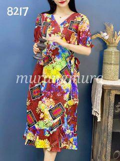 Wrappedaround Ruffled PuffSleeves Dress