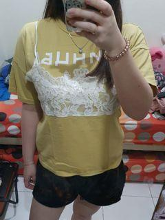 Yellow Brukat Top