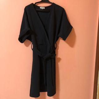 Zalora gray wrap dress