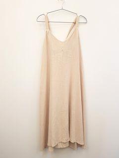 【正韓】後鬆緊棉麻綁帶傘狀裙