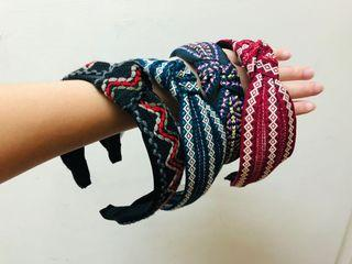 全新韓國民族風編織髮帶