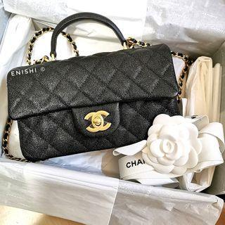 (即時交收 全新連單) Chanel Classic Flap with Top Handle 黑金