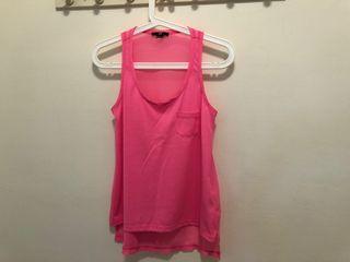 二手 H&M 異材質粉色背心 已剪標 s號