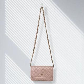 Baby Pink Wallet On A Chain Lambskin Dupe Purse