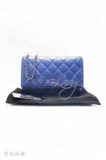 CHANEL AP0250 Classic WOC 藍色經典小牛皮 銀色CC Logo 肩背式 長銀包 錢包 皮夾
